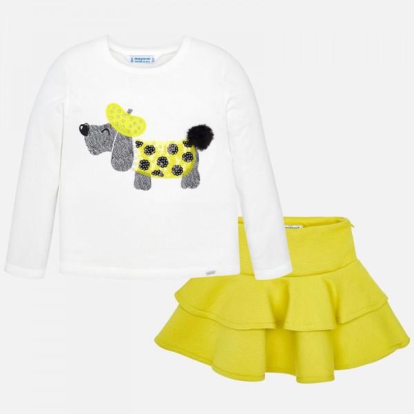Комплект блуза с кученце и пола с къдрички